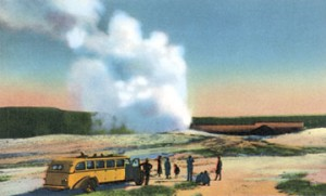 Yellow Tour Bus at Old Faithful Geyser circa 1930's