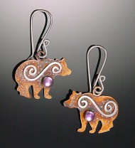 Small Grizzly Bear Earrings