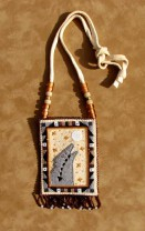 Beaded Deer Hide Howling Wolf Medicine Bag/Neck Pouch by Jackie Larson Bread Blackfeet Native Americ